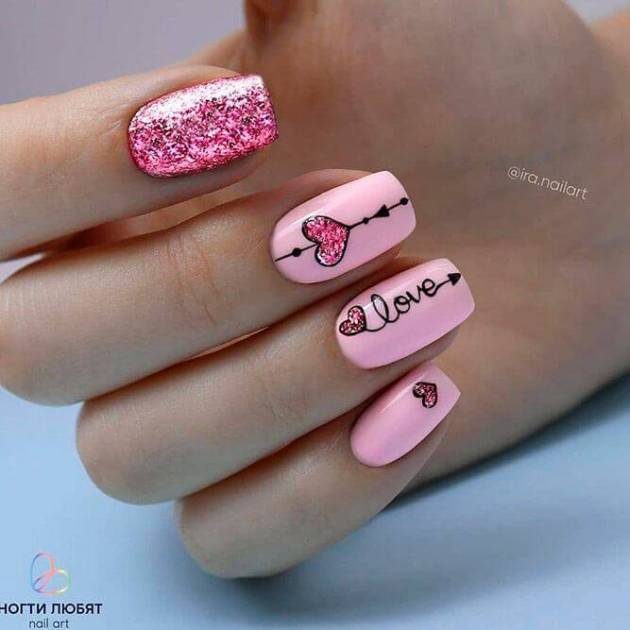 pink love heart glitter nails design ideas for valentines day
