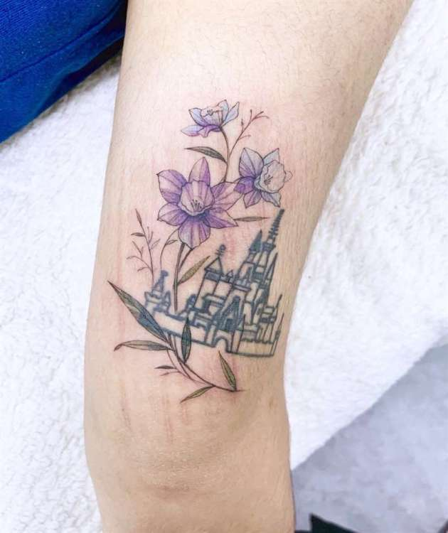 purple color narcissus birth flowers tattoo