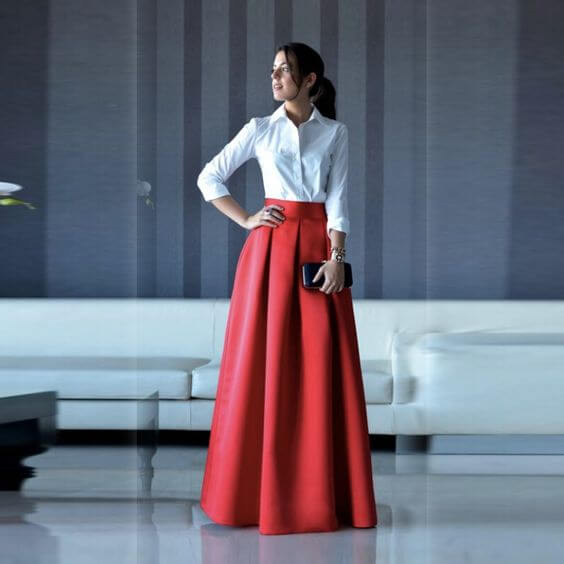 chinese new year red skirt and white shirt outfit ideas for women