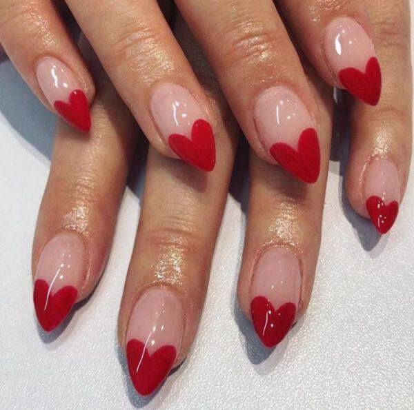 adorable nude coffin red heart french tip manicure