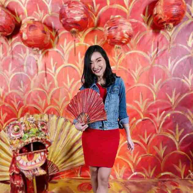 casual short red dress with denim jacket for chinese new year