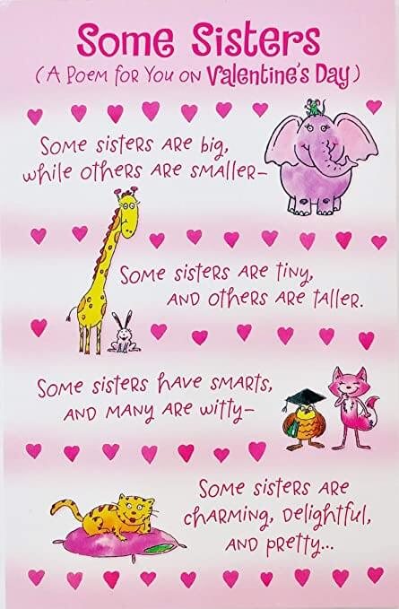 cute sisters poem image for valentines day