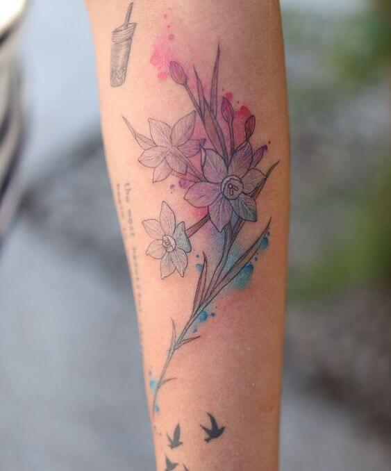 watercolor december birth flowers narcissus tattoo design