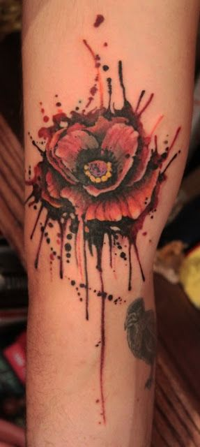 splashy watercolor rose tattoo design
