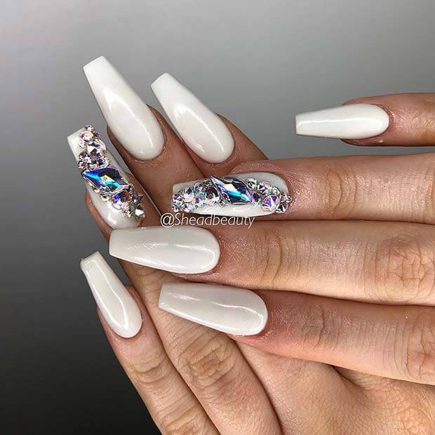 cute white coffin birthday nails ideas with rhinestones