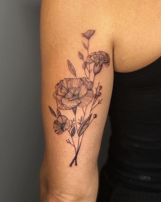 black and grey carnation January birth flowers tattoo design on back arm
