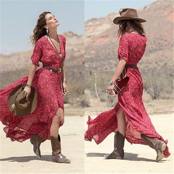 red belted dress with hat and boots cowgirl outfit idea