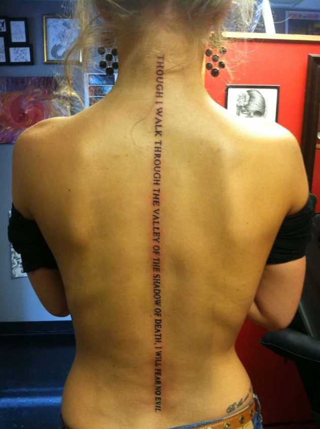 i will fear no evil quote tattoo on back spine for females