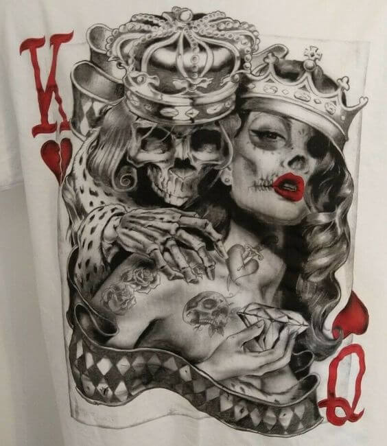 skeleton king and queen of hearts card tattoo design