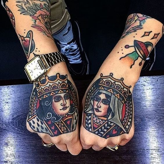 old school king and queen tattoo designs on hands