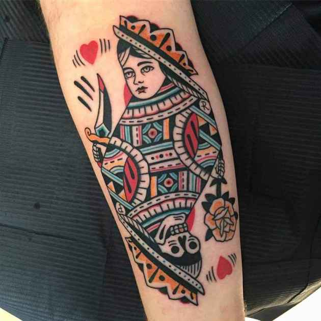 traditional old school queen of hearts tattoo design