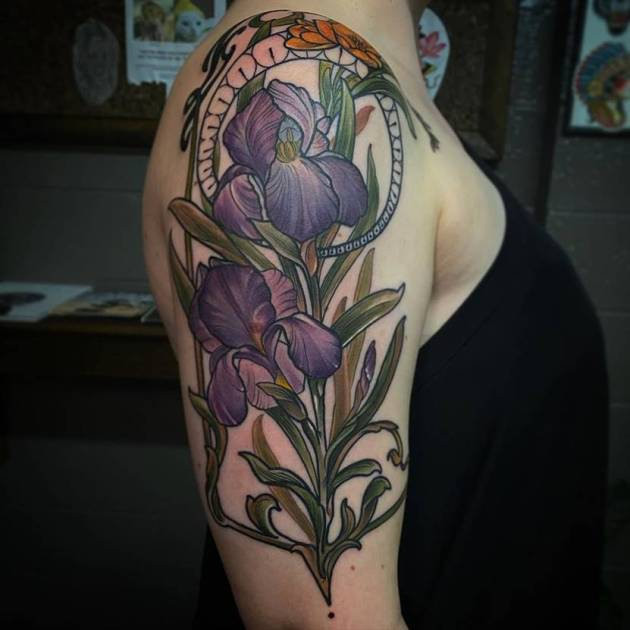 3d iris floral tattoo design on upper arm