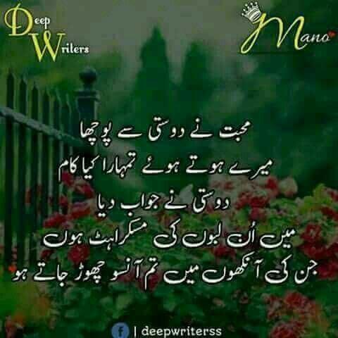 Mohabat Ne 'DOSTI' Se Pocha urdu poem