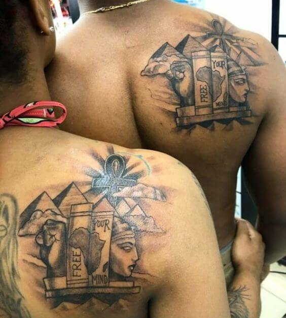 Egyptian symbols with quote free your mind tattoos for black couple