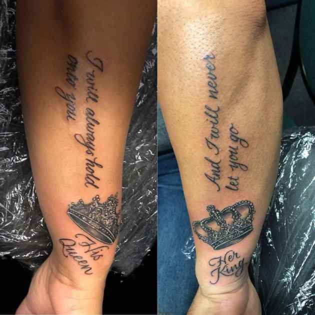 his queen her king tattoos with quote on black couple arm