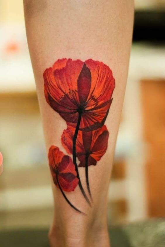 bright red august birth poppy flowers tattoo design
