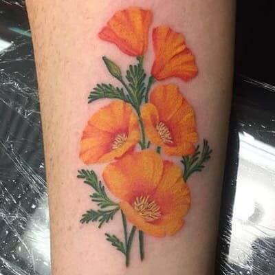 beautiful orange poppy august birth flower tattoo design