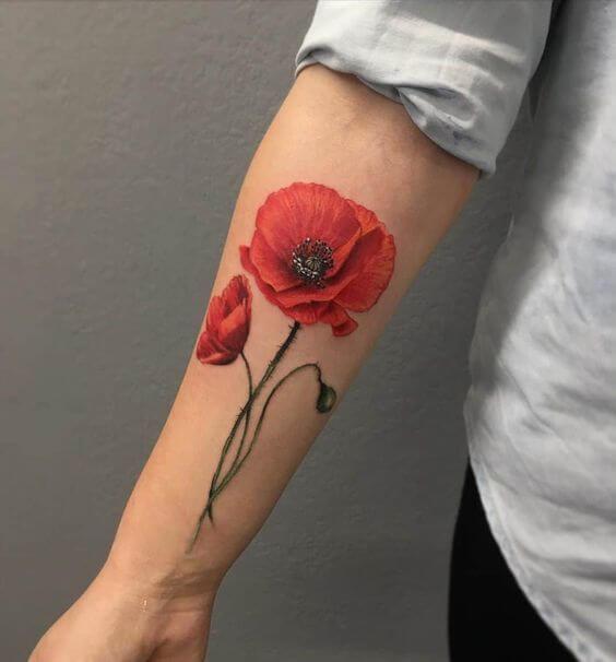 red poppy august birth flower tattoo design for men forearm