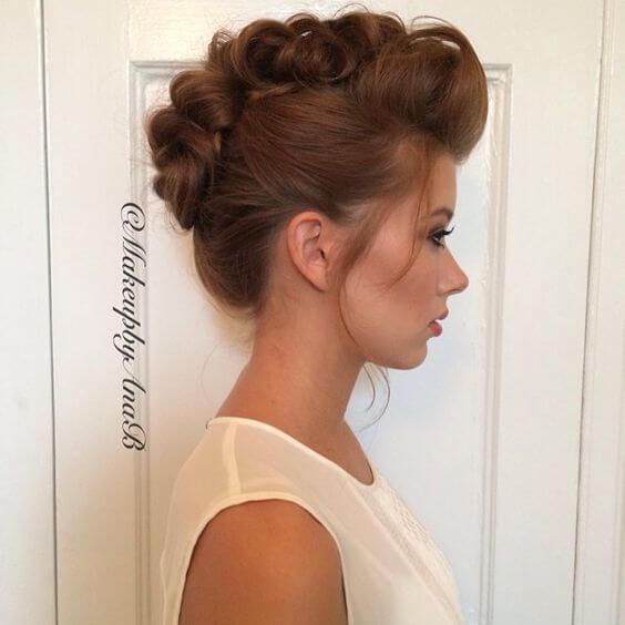 faux hawk braided updo hair style