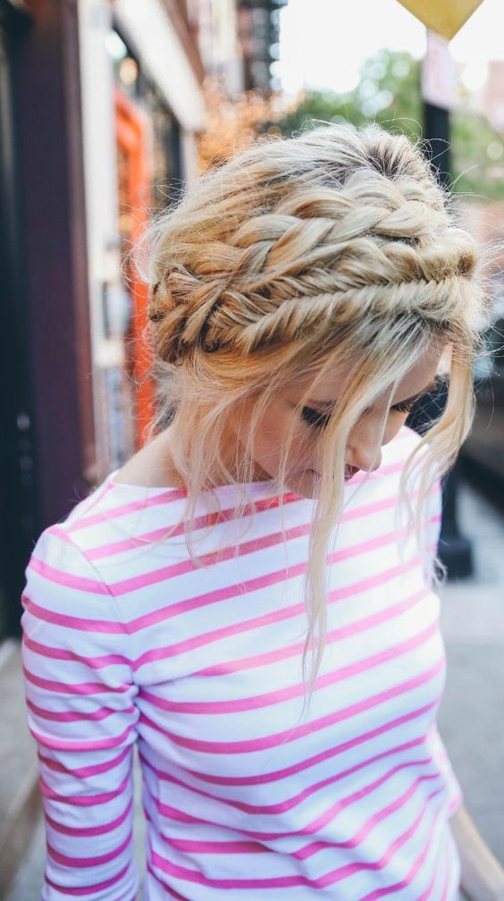 milkmaid braid with fishtail updo hairstyle