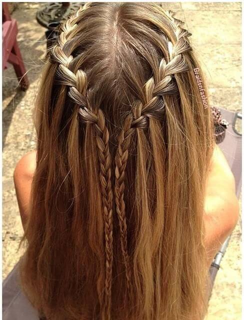 plaited waterfall hairstyle for girls