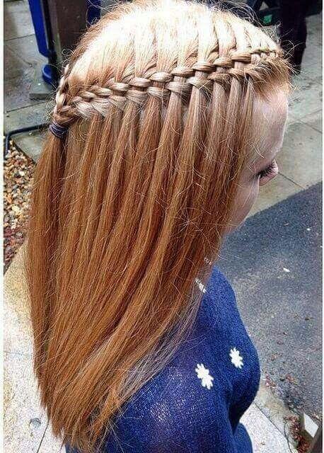 waterfall braid tucked hair style
