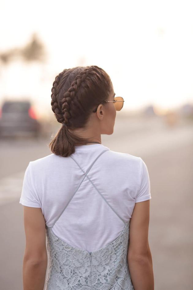 two french braids pony tail hair style