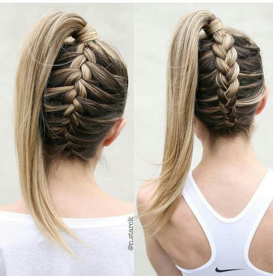 upside down braided ponytail hair style
