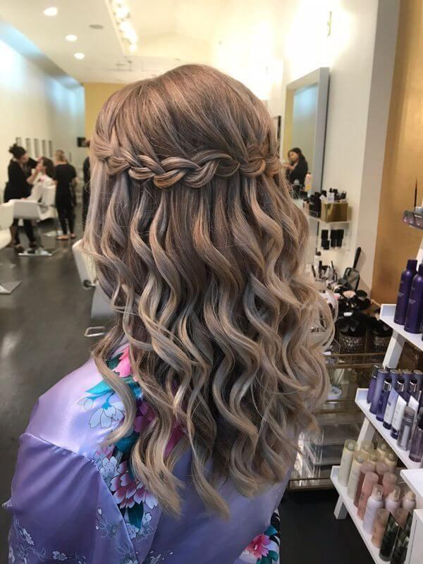 simple waterfall braid hair style