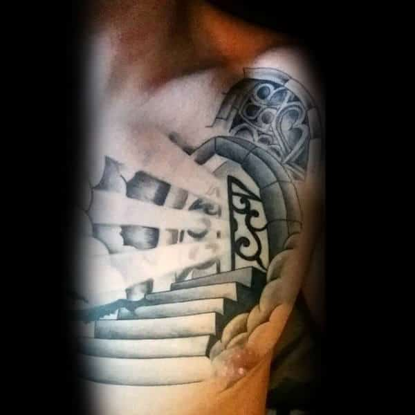 beam light coming out from pearly gates of heaven tattoo design on chest