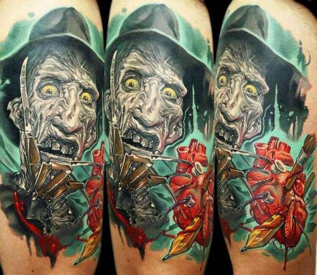 3-D color bursting Freddy Krueger tattoo from Nightmare on Elm street