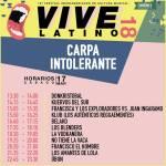Vive Latino - Carpa Intolerante - Horarios Sábado