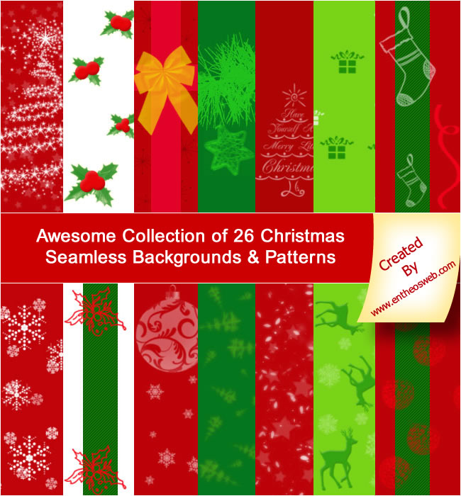 Awesome Collection Of 26 Free Christmas Seamless
