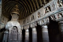 The interior of one of the amazing 29 caves at Ajanta