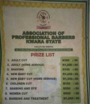 Barbershop (Barbing salon) price list