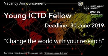 Application For UNU-CS Young Information and Communication Technologies and Development (ICTD) Fellowship 2019
