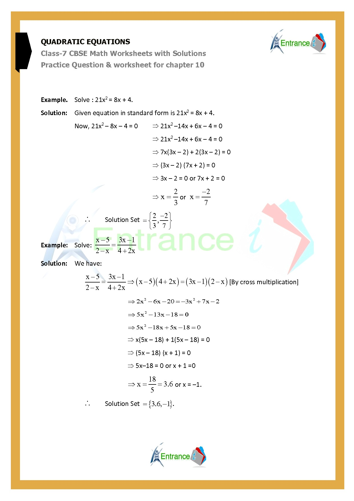 Worksheet For Class 7 Maths For Chapter 10 Quadratic Equations