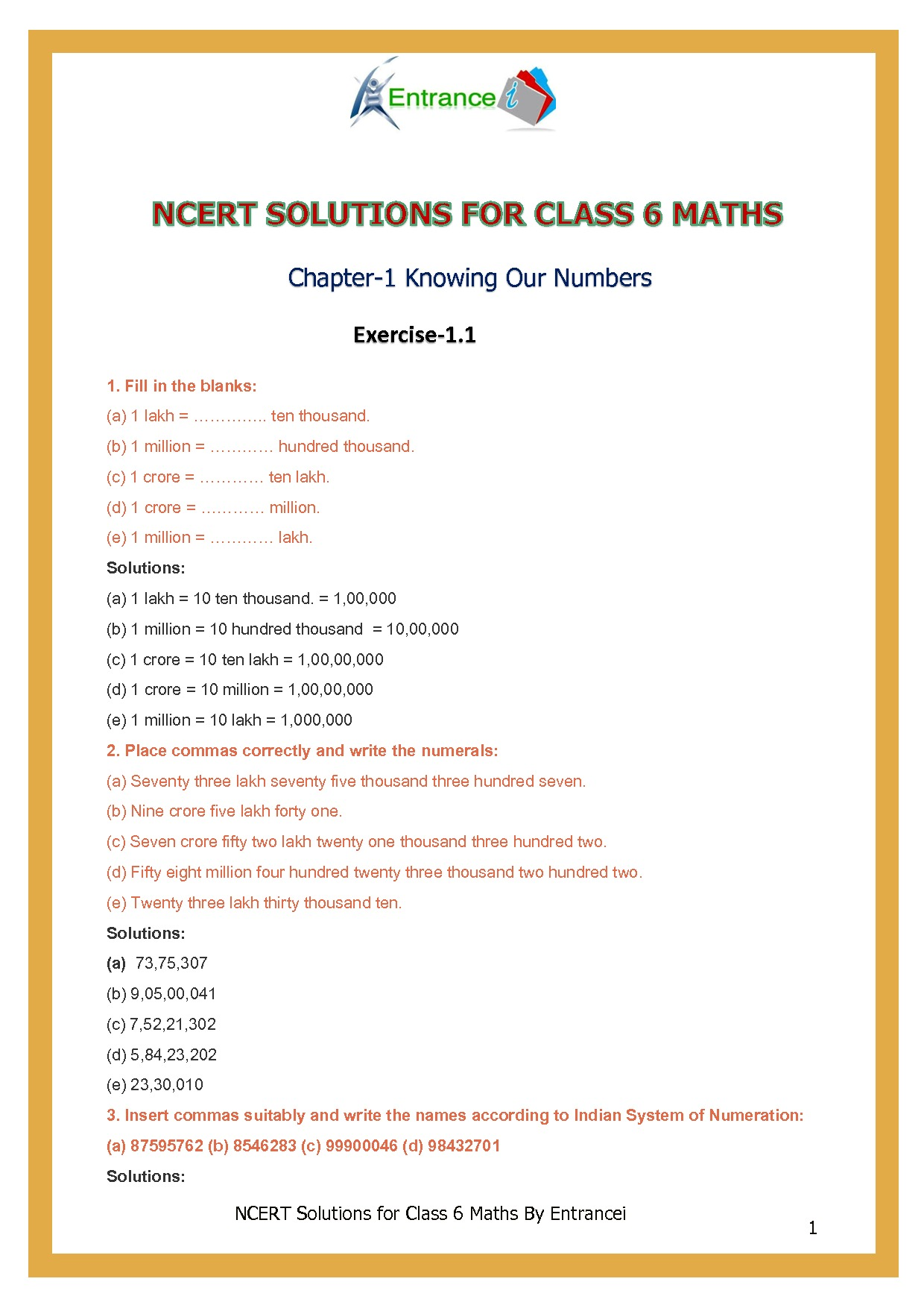Ncert Solutions For Class 6 Maths Chapter 1 Knowing Our