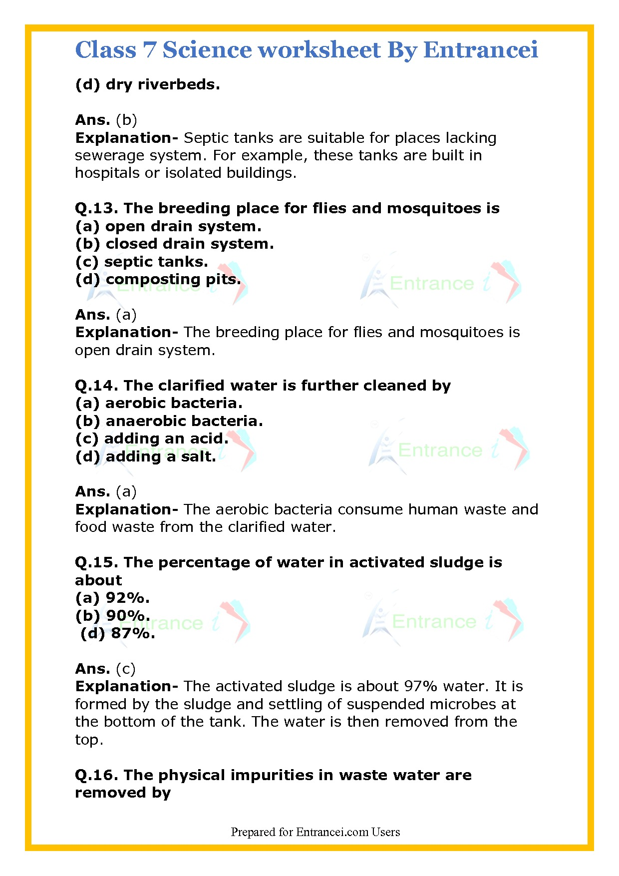 Class 7 Science Worksheet With Detail Solutions For