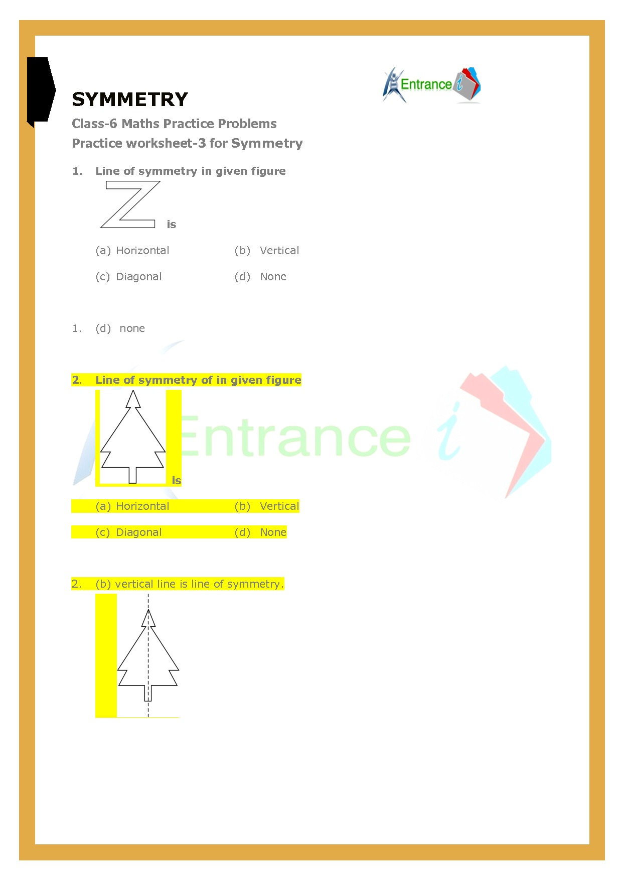 Class 6 Maths Chapter 13 Symmetry Worksheet 3 Entrancei