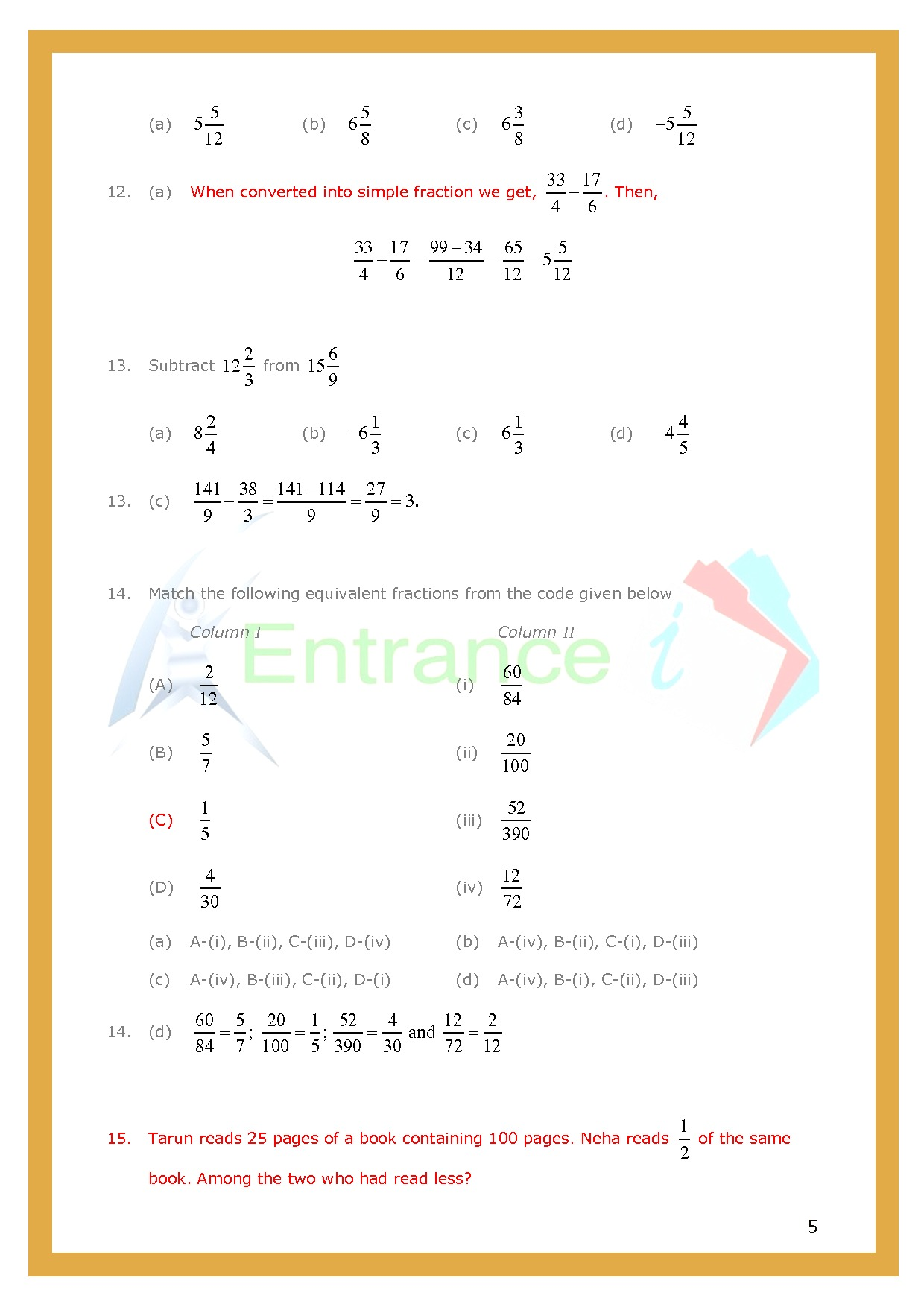 Worksheet 3 For Chapter Fractions Class 6 Maths