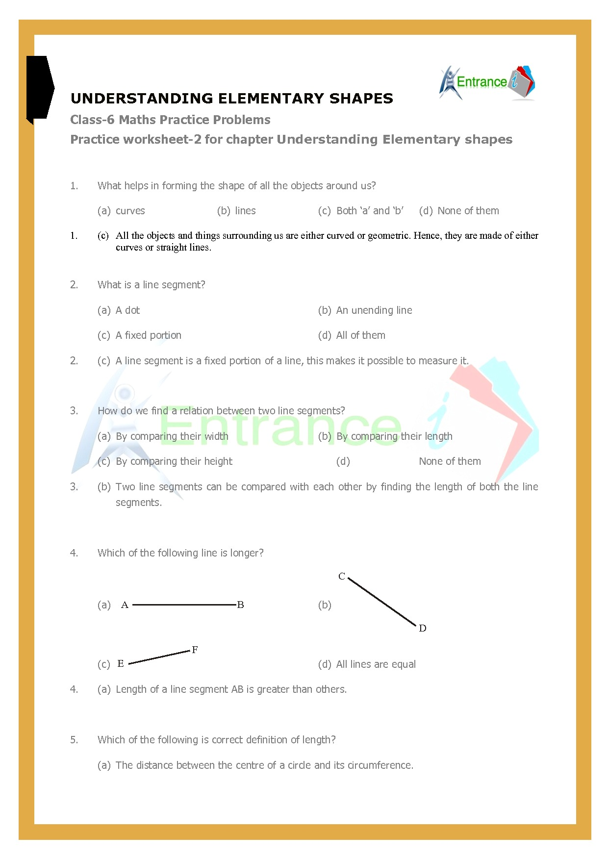 Worksheet 2 For Chapter Understanding Elementary Shapes