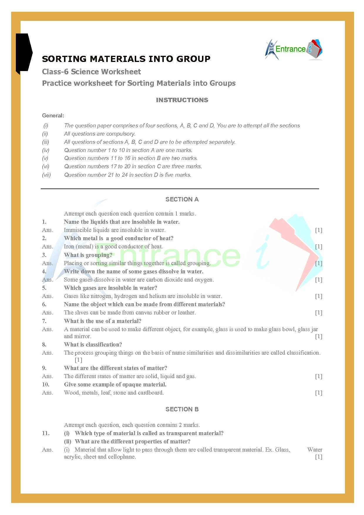 Class 6 Science Worksheets Chapter 4 Sorting Materials