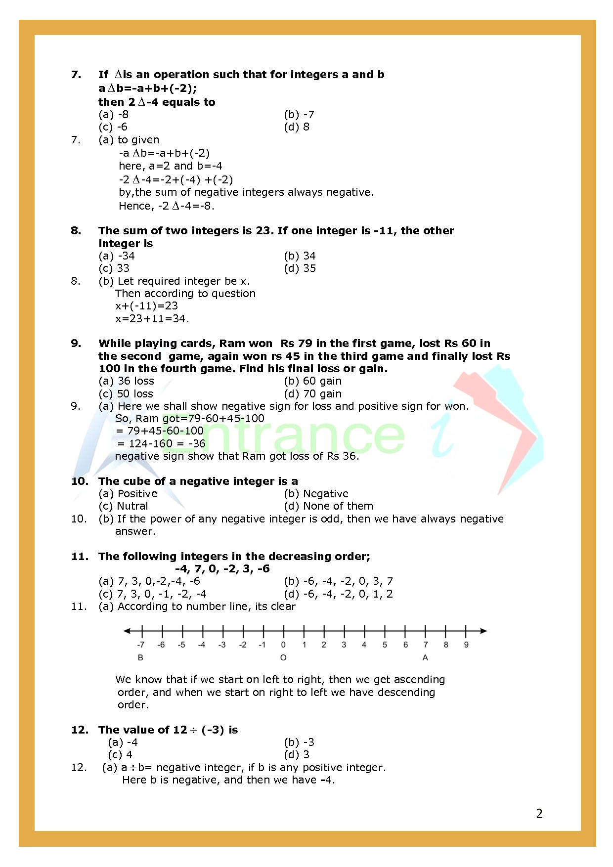 Worksheet 1 For Chapter Integers Class 6 Maths