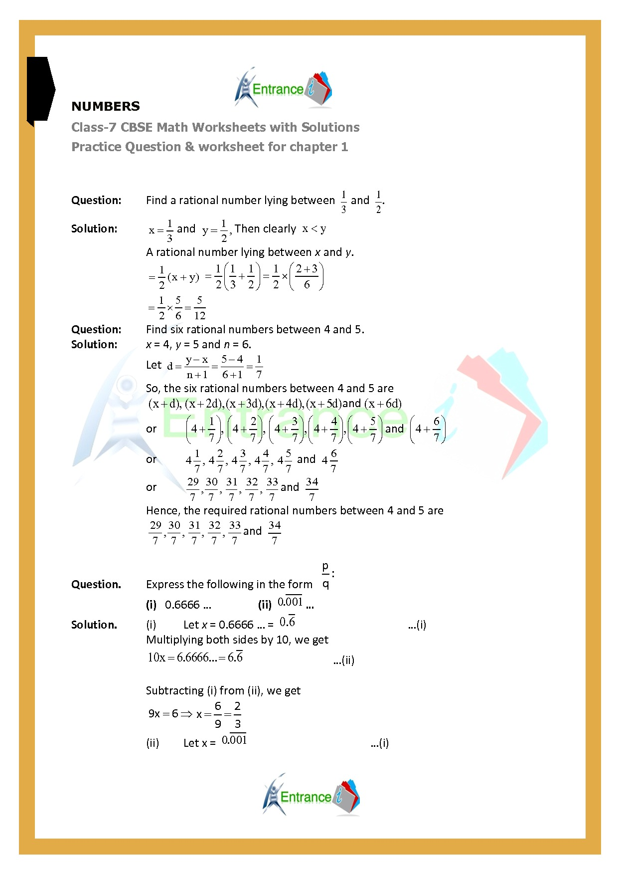 Worksheet For Class 7 Maths For Chapter 1 Number System