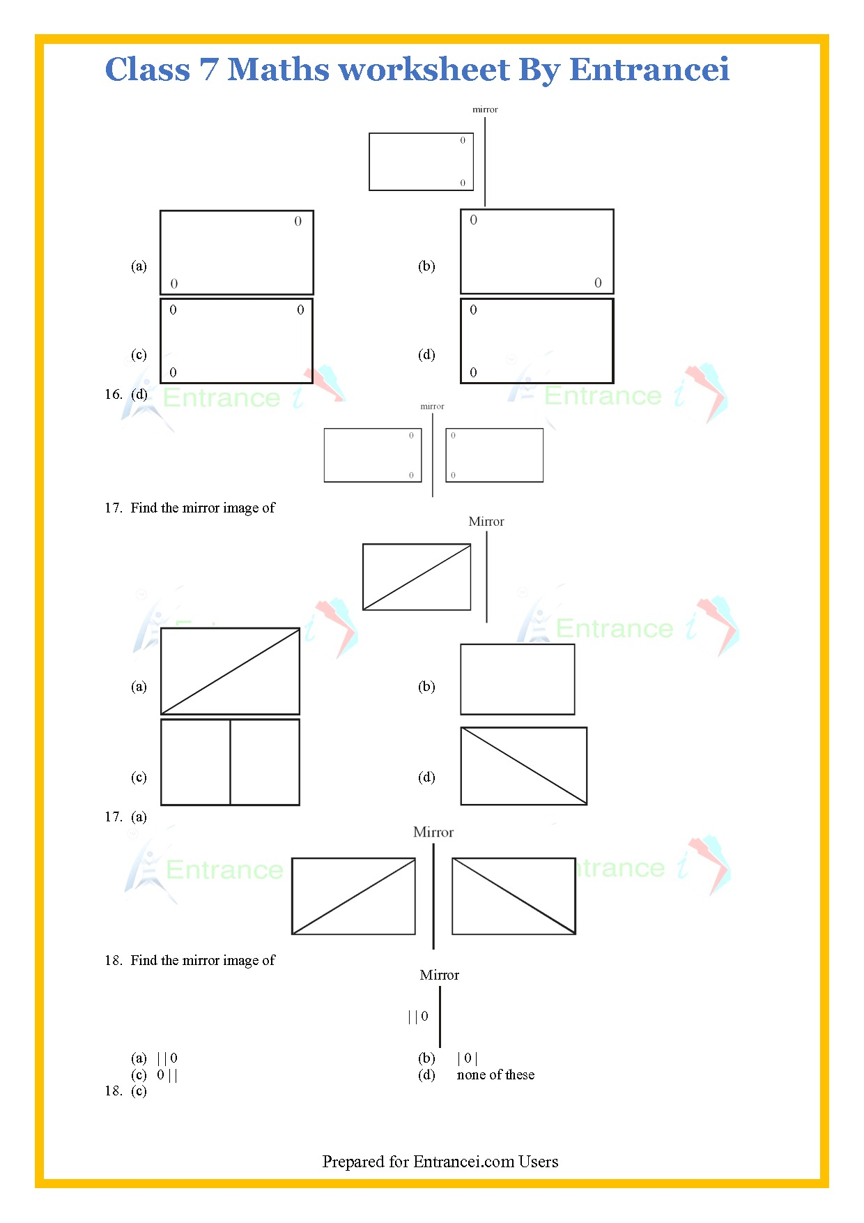 Cbse Class 7 Maths Worksheet For Chapter 14 Symmetry