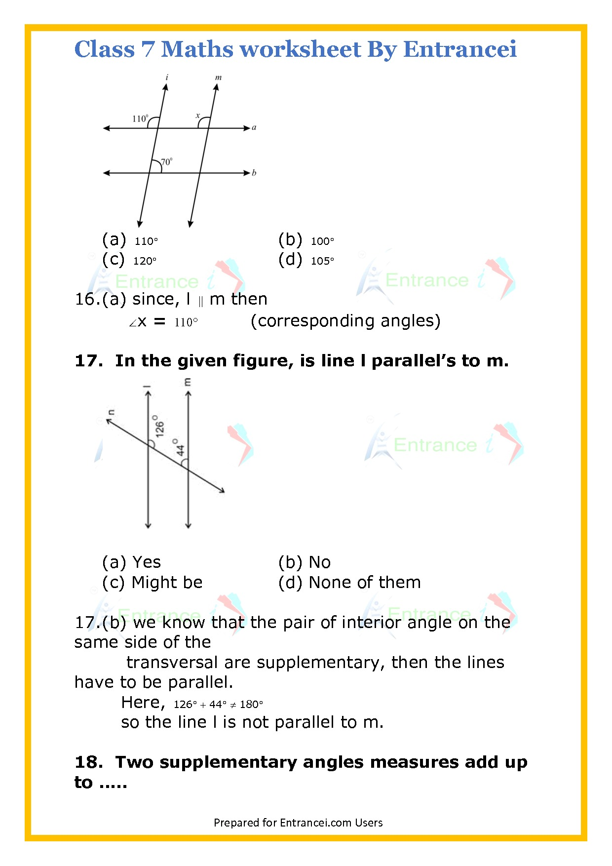 Cbse Class 7 Maths Worksheet For Chapter 5 Line And Angles