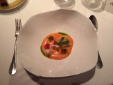 Lobster, tomato & strawberry velvet chervil, parsley, Manzanilla, lettuce