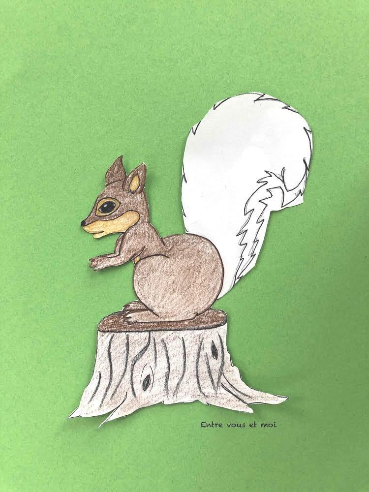 Ecureuil dessiné par maman