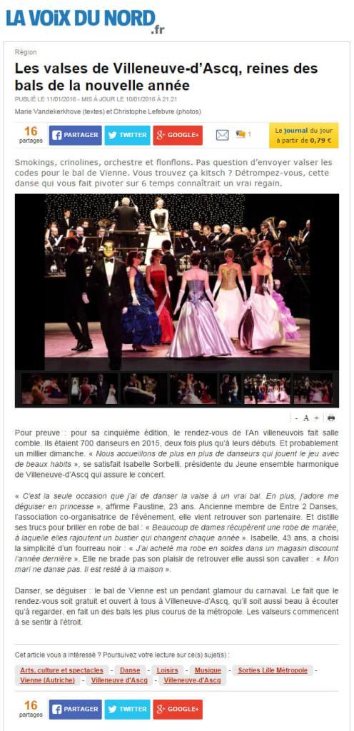 Article Bal du nouvel an 2016 villeneuve d'ascq La Voix du Nord